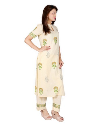 Suti Women`s Cotton Slub Block Printed Straight Kurta with Palazzo Set, Transparent Yellow