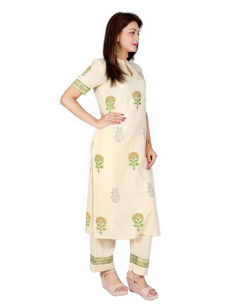 Suti Women`s Cotton Slub Block Printed Straight Kurta with Palazzo Set, Transparent Yellow