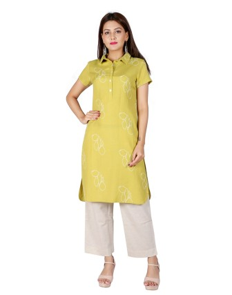 Suti Women`s Viscose Rayon Printed Tunic, Sheen Green