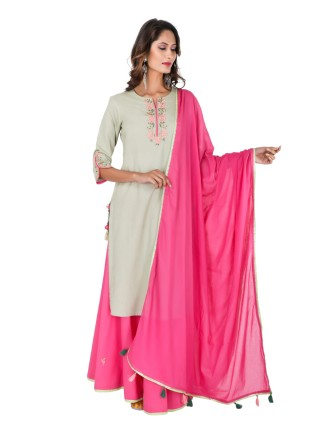 Suti Women`s Rayon Straight Embroidery Dori Kurta Set, Canary Green