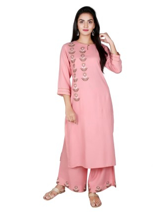 Suti Women`s Rayon Slub Hand Katha Stitch Embroidered Kurti with Palazzo Set, Dusty Rose