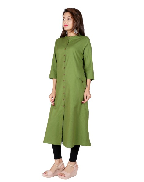 Suti Women`s Cotton Flex Solid A-line Kurti, Green