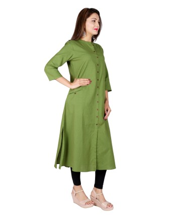 Suti Women`s Cotton Flex Solid A-line Kurti, Green