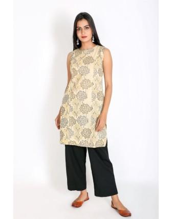 Suti Women`s Cotton Slub Printed Straight Sleeveless Kurti, Beige