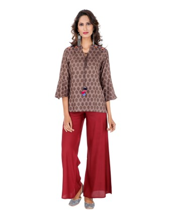 Suti Women`s Rayon Staple Embroidered Straight Fit Top, KASHISH