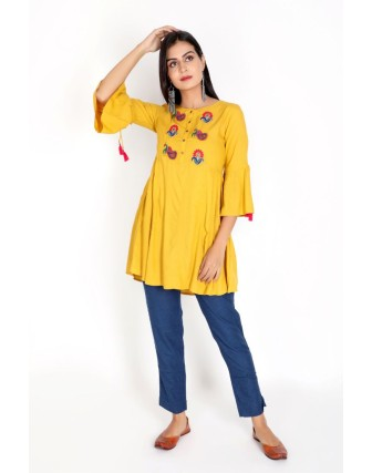 Suti Women`s Rayon Staple Embroidered Side Gather Tunic, Mustered