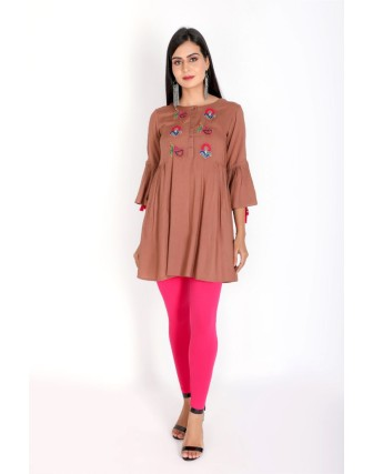 Suti Women`s Rayon Staple Embroidered Side Gather Tunic, Nutmeg Brown