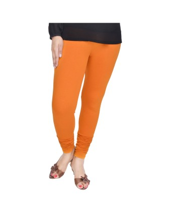 Suti Womens Plain Churidhar Leggings, Dark Orange