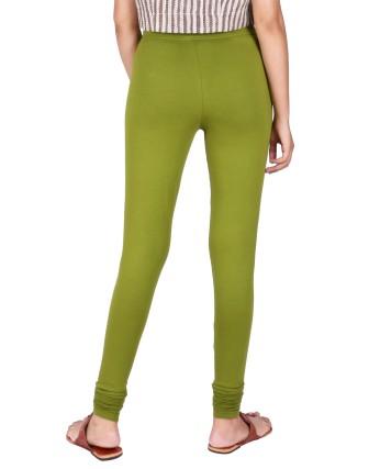 Suti Womens Plain Churidhar Leggings, Olive Green