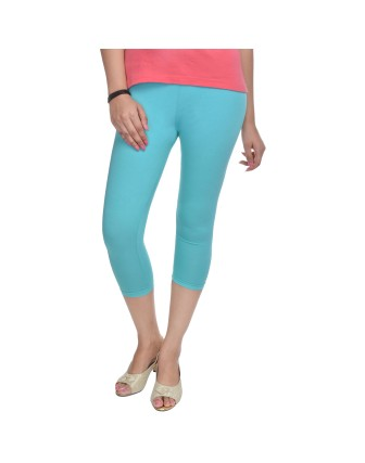 Suti Womens Plain 3/4 Length Leggings, Aqua