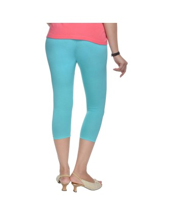 Suti Womens Plain 3/4 Length Leggings, Aqua