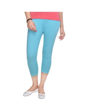 Suti Womens Plain 3/4 Length Leggings, Bright Turquoise