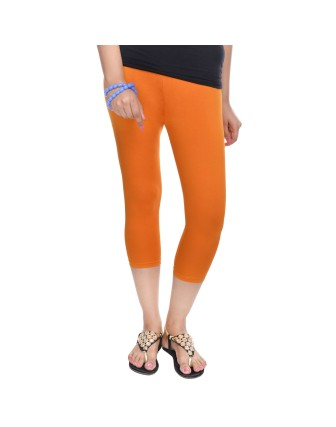 Suti Womens Plain 3/4 Length Leggings, Dark Orange