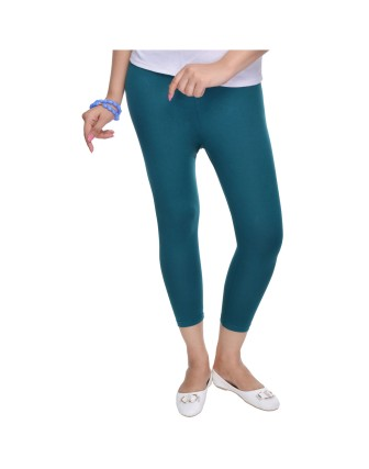 Suti Womens Plain 3/4 Length Leggings, Dark Teal