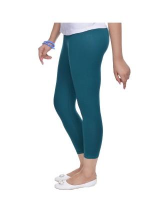 Suti Womens Plain 3/4 Length Leggings, Dark Teal