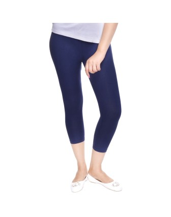Suti Womens Plain 3/4 Length Leggings, Navy Blue