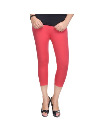 Suti Womens Plain 3/4 Length Leggings, New Coral