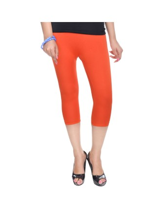 Suti Womens Plain 3/4 Length Leggings, Orange