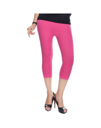 Suti Womens Plain 3/4 Length Leggings, Pink
