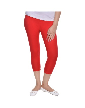 Suti Womens Plain 3/4 Length Leggings, Poppy Red