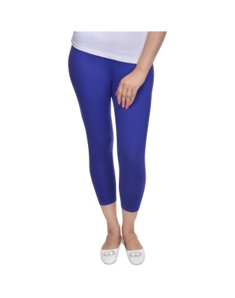 Suti Womens Plain 3/4 Length Leggings, Strong Blue
