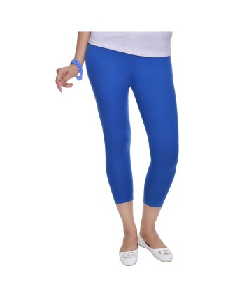 Suti Womens Plain 3/4 Length Leggings, True Blue