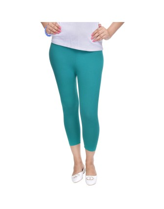Suti Womens Plain 3/4 Length Leggings, Teal