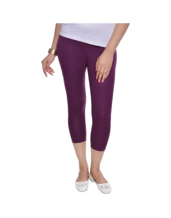Suti Womens Plain 3/4 Length Leggings, Wine