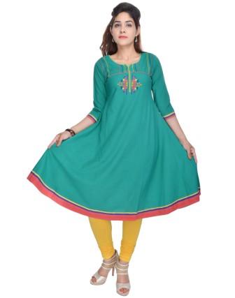Suti Womens Cotton A  Line Kurti, Rama