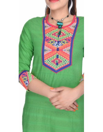 SUTI WOMENS COTTON EMBROIDED LONG KURTI, GREEN