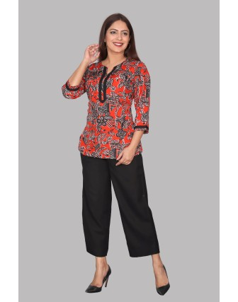 SUTI WOMENS  POLYCREPE SHORT KURTI, RED