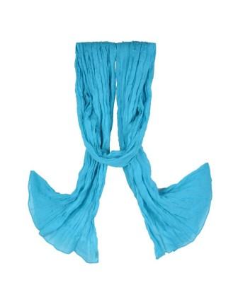 Suti Womens Cotton Plain Dupatta With Lace, Aqua
