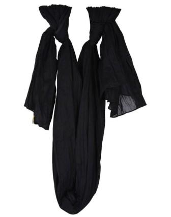 Suti Womens Chiffon Plain Dupatta With Lace, Black