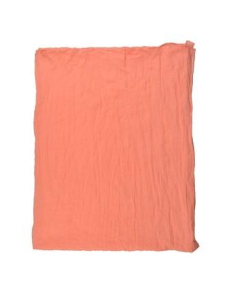 Suti Womens Chiffon Plain Dupatta With Lace, Carrot Orange