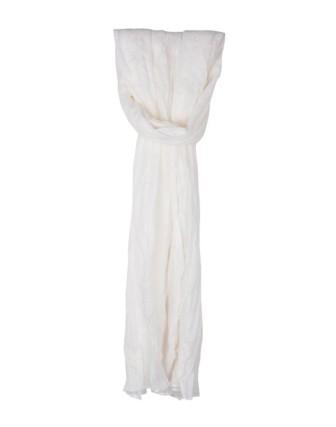 Suti Womens Chiffon Plain Dupatta With Lace, Cream