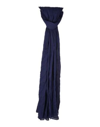 Suti Womens Chiffon Plain Dupatta With Lace, Navy Blue