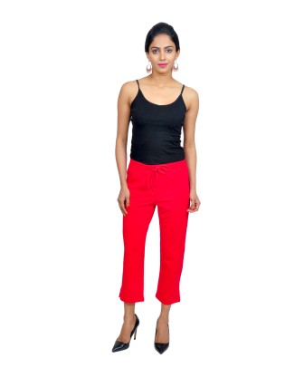 Suti Womens Cotton Lycra Capri Pant, Poppy Red