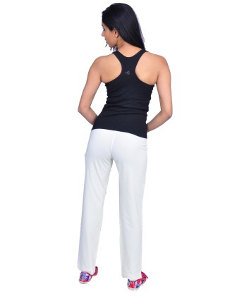 Suti Womens Cotton Lycra Yoga Pant, Cream