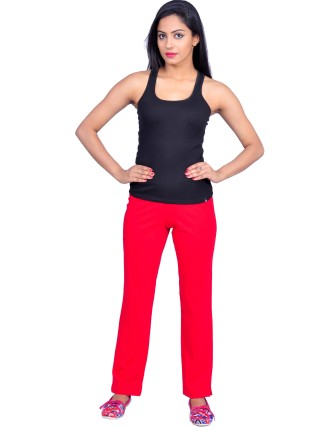 Suti Womens Cotton Lycra Yoga Pant, Poppy Red