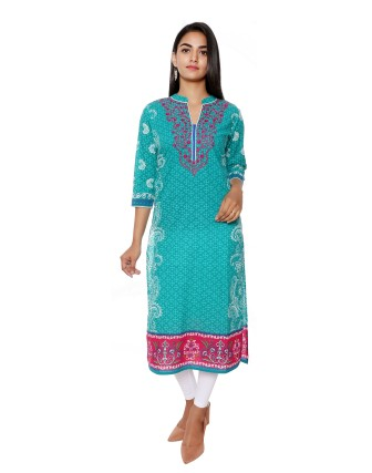 SUTI WOMENS COTTON EMBROIDED LONG KURTI, TEAL