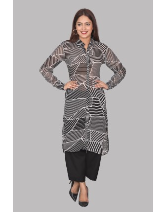 SUTI WOMENS GEORGETT PRINTED TOP N TUNIC, BLACK