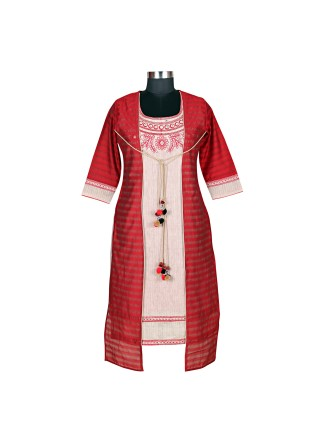SUTI WOMENS CHANDERI EMBROIDED LONG KURTI, RED