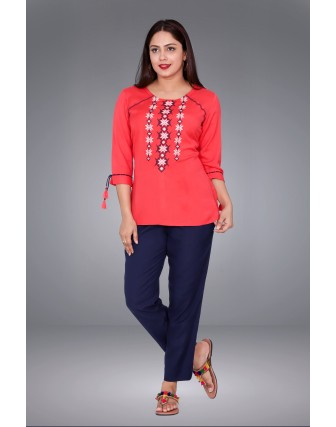 SUTI WOMENS RAYON FLEX EMBROIDED SHORT TOP N TUNIC, NEW CORAL