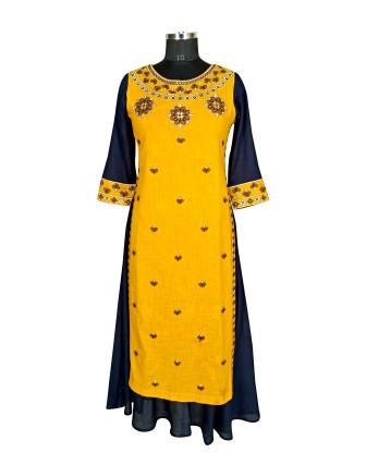SUTI WOMENS COTTON EMBROIDED DOUBLE LAYER KURTI, MUSTERED