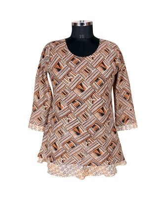 SUTI WOMENS COTTON PRINTED SHORT TOP N TUNIC, MUSTERED
