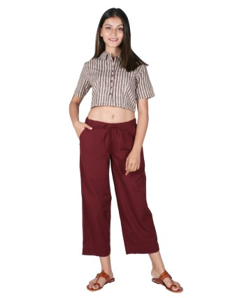Suti Womens Cotton Flex Culottes, Rustic Maroon