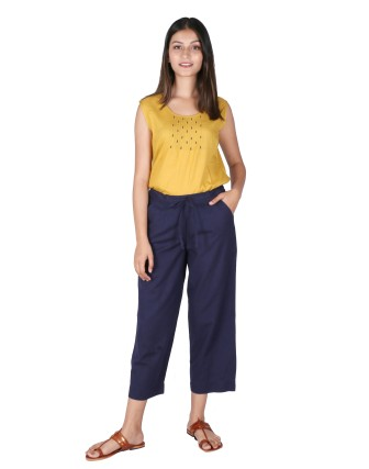 Suti Womens Cotton Flex Culottes, Navy Blue
