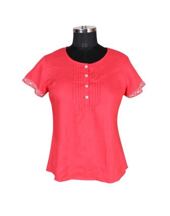 SUTI WOMENS RAYON WITH  TOP N TUNIC, NEW CORAL