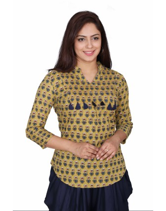 SUTI WOMENS COTTON PRINTED  TOP N TUNIC, MEHANDI GREEN
