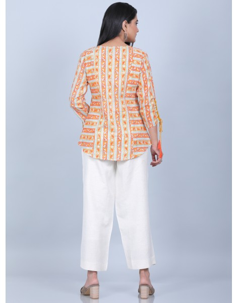 Suti Women's Printed Short Top With Culottes, ORANGE